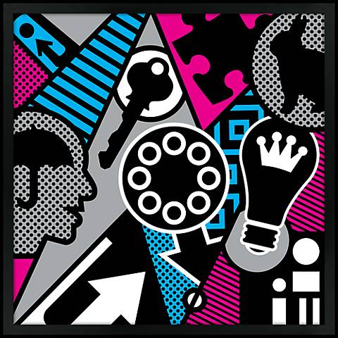"Pop Psychology 21"" Square Black Giclee Wall Art"