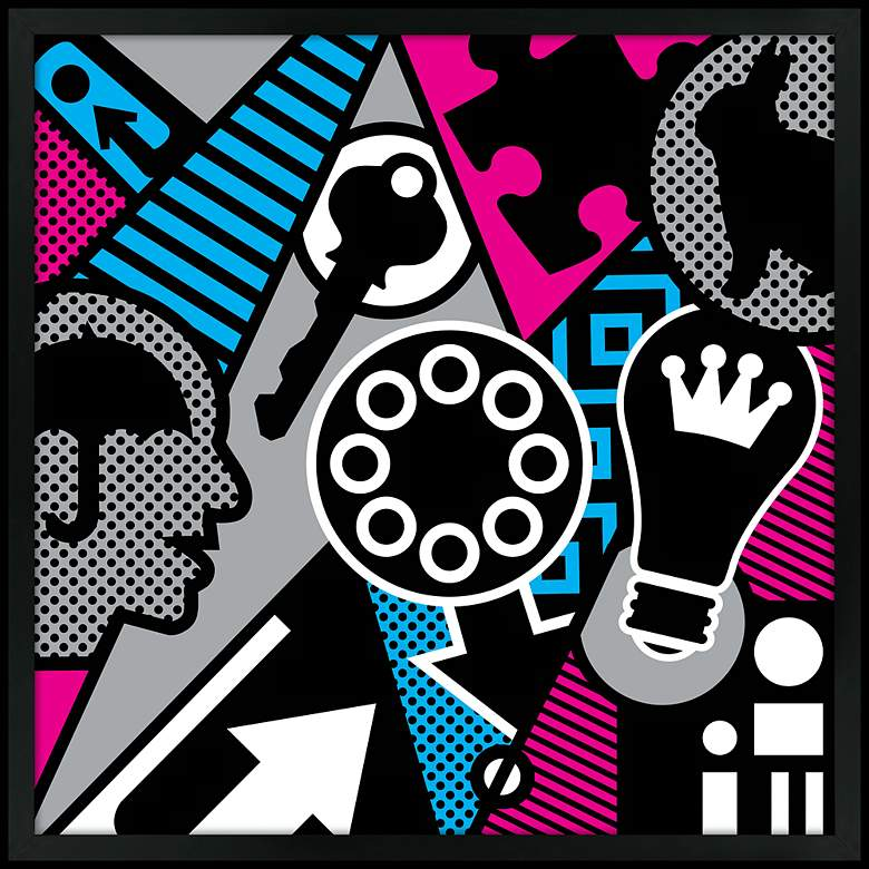 "Pop Psychology 26"" Square Black Giclee Wall Art"