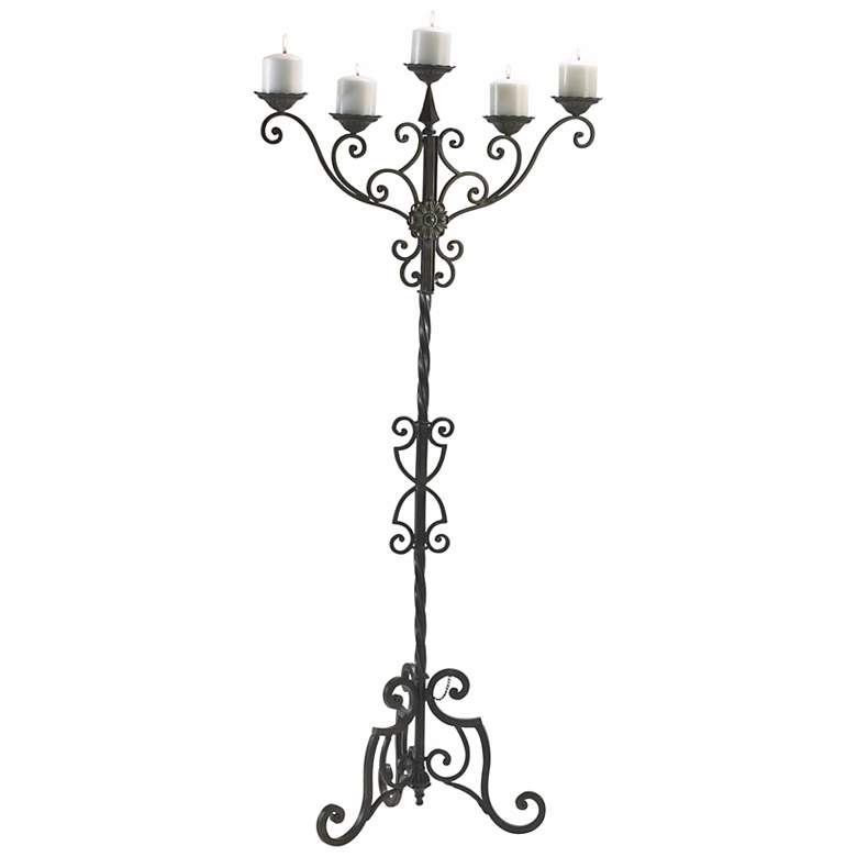 "Rialto 56 1/2"" High Aged Iron Floor Candelabra Candle Holder"