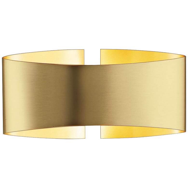 "Holtkoetter Voila 9 1/4"" Wide Brushed Brass Wall Sconce"