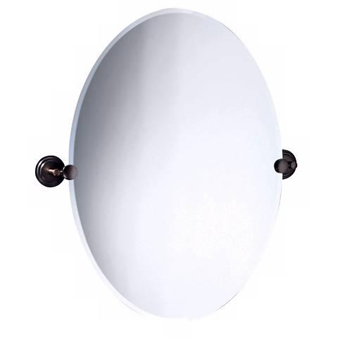 "Marina Oiled Bronze 24"" x 26 1/2"" Oval Tilt Wall Mirror"