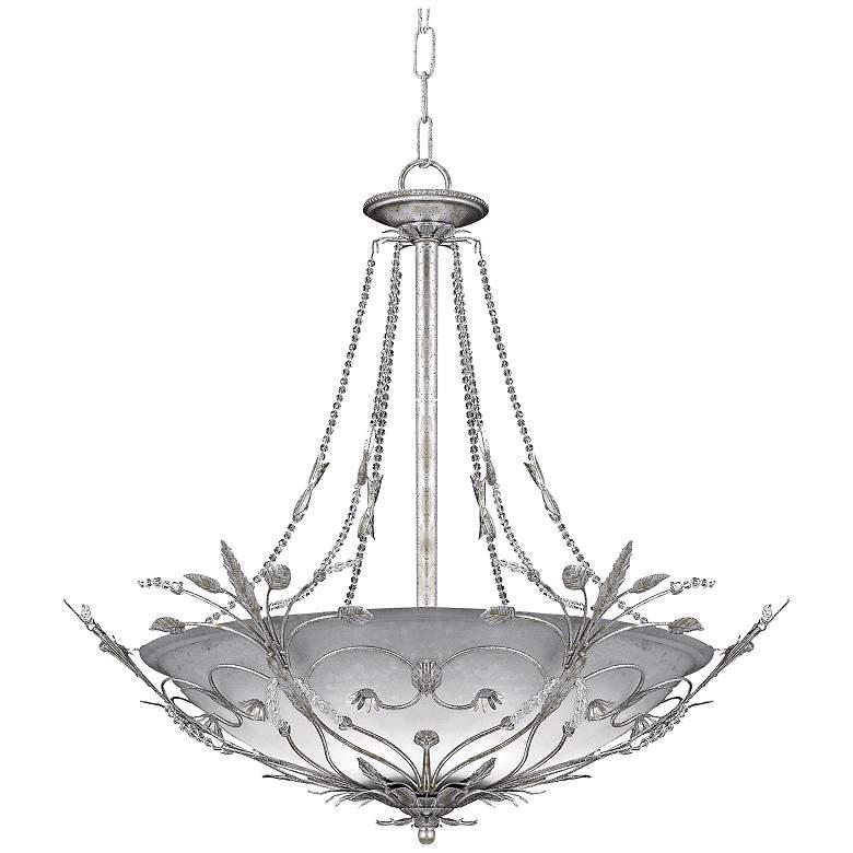 "Parisian Collection 25"" 6-Light Silver Leaf Crystal Pendant"