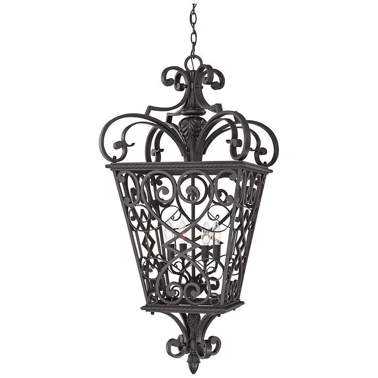 French Quarter Marcado Black Four Light Hanging Lantern
