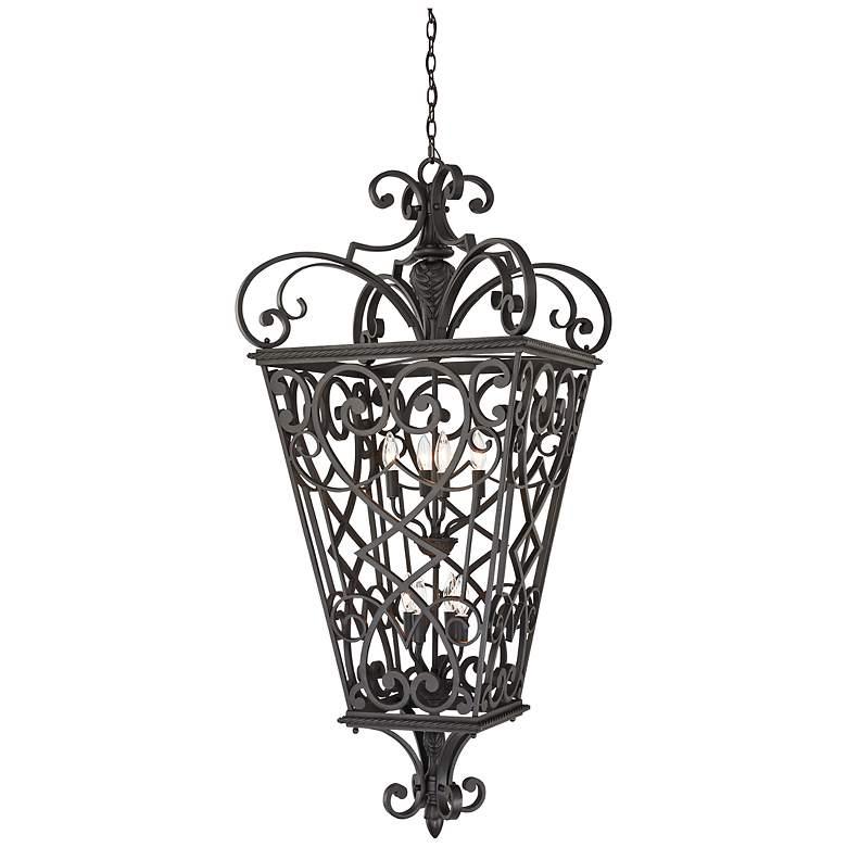 French Quarter Marcado Black Eight Light Hanging Lantern
