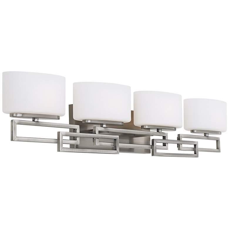 """Hinkley Lanza Nickel 34"""" Wide Bathroom Wall Light"""