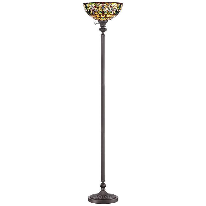 Quoizel Kami Tiffany-Style Torchiere Floor Lamp