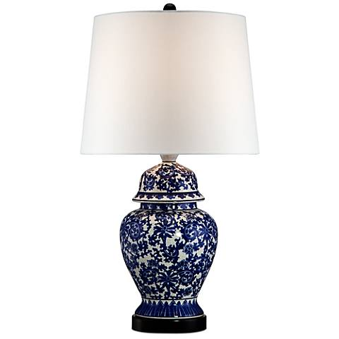 Blue and White Porcelain Temple Jar Table Lamp with 9W LED Bulb