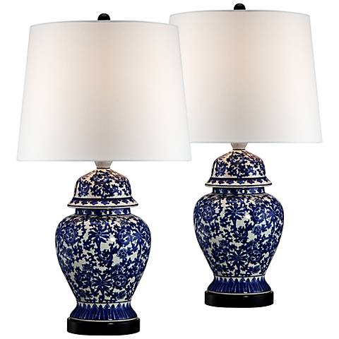 Porcelain Temple Jar Table Lamps Set of 2 with 17W LED Bulbs