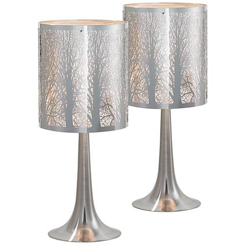 "Possini Euro 19"" High Laser-Cut Chrome Table Lamps Set of 2"