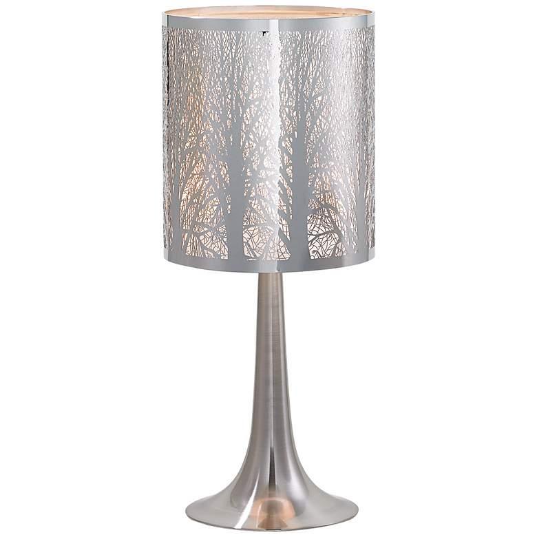 "Possini Euro Design 19"" H Laser-Cut Chrome Accent Table Lamp"