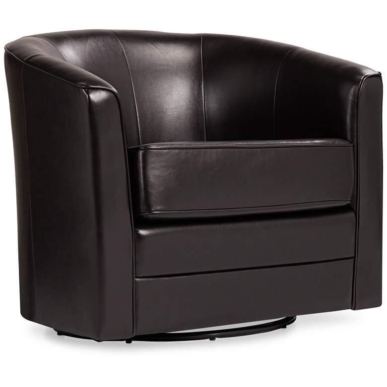 Keller Espresso Bonded Leather Swivel Club Chair
