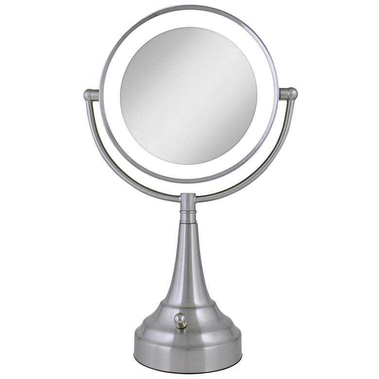 Satin Nickel Double-Sided Round LED Vanity Mirror