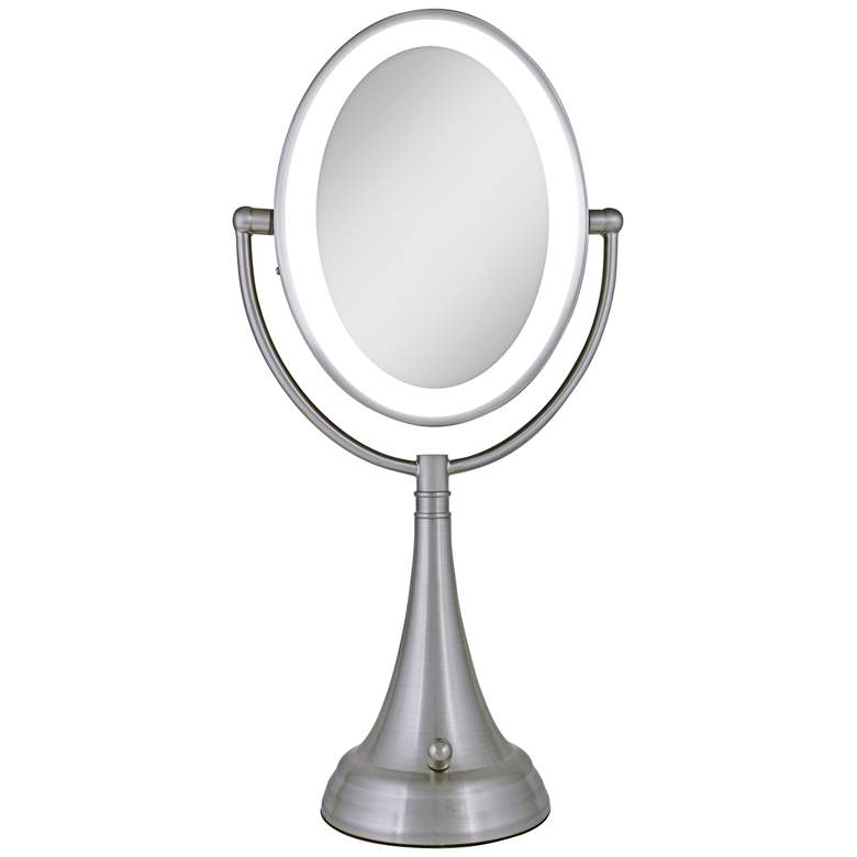 Satin Nickel Double-Sided Oval LED Vanity Mirror