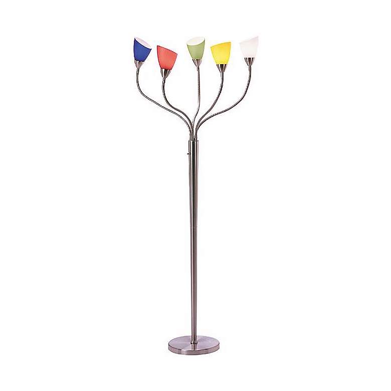 R3174 - Gooseneck Floor Lamp with Colored Acrylic Shades
