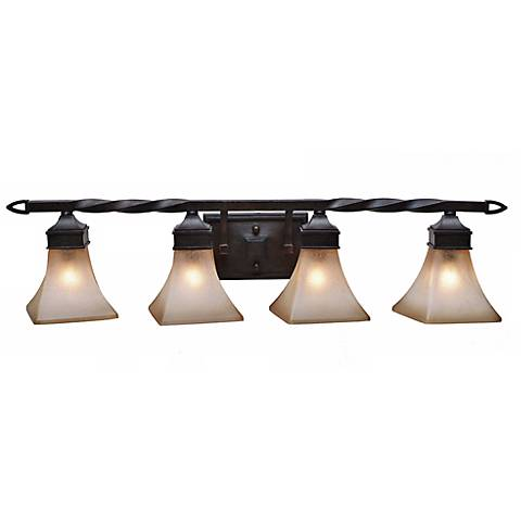 """Pasianno Roan Timber Finish 35 3/4"""" Wide Bathroom Wall Light"""