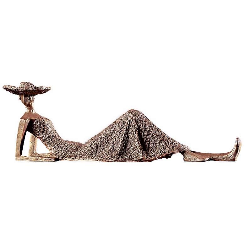"Summer Days 17"" Wide Antique Bronze Tabletop Statue"