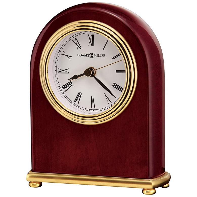 "Howard Miller Rosewood Arch 5"" High Tabletop Alarm Clock"