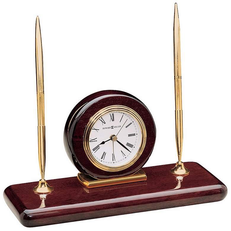"""Howard Miller Rosewood 9 1/4"""" Wide Clock and Desk Set"""