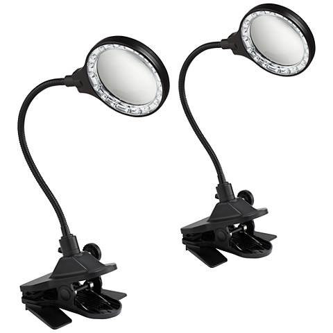 LED Magnifier Gooseneck Clip Light Set of 2