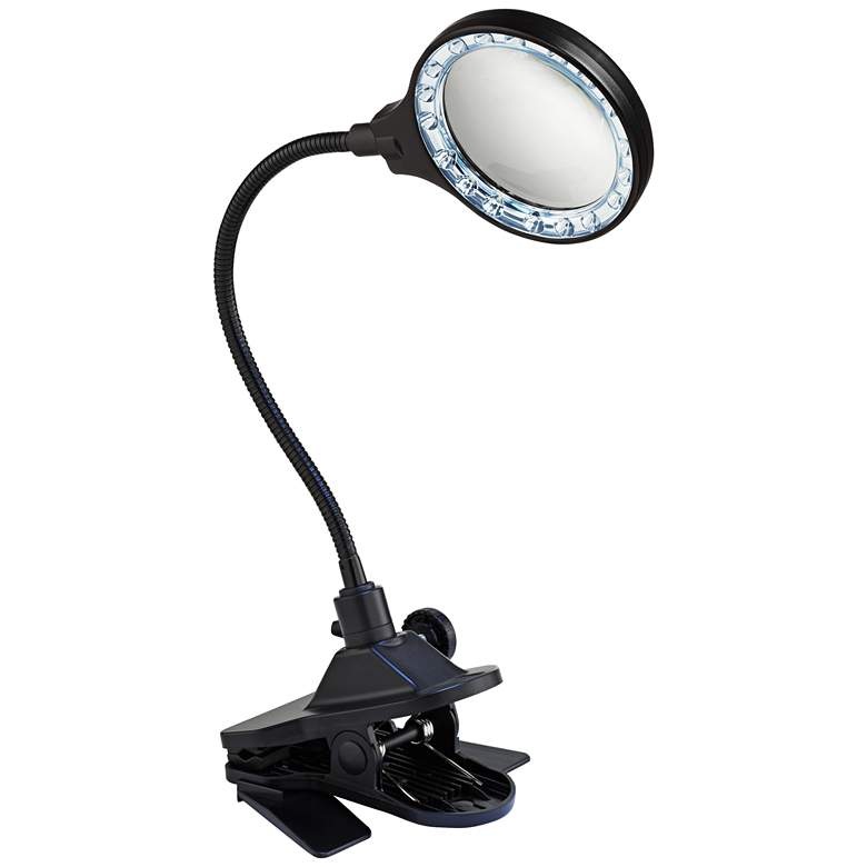 LED Gooseneck Clip Light with Magnifier Lens