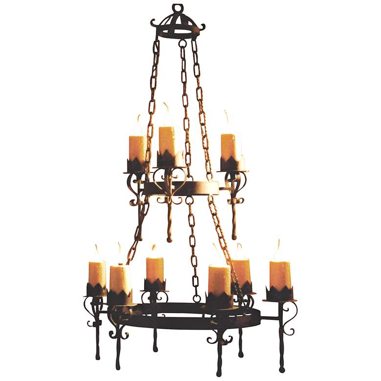 "Laura Lee Gothic 9-Light 36"" Wide Forged Iron Chandelier"