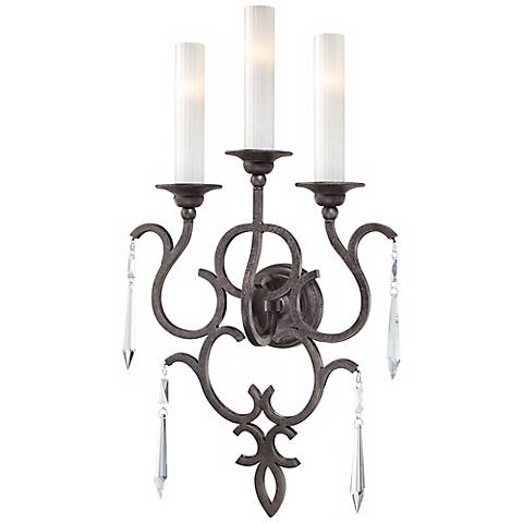 "Metropolitan 17"" Wide Three Light Iron Wall Sconce"