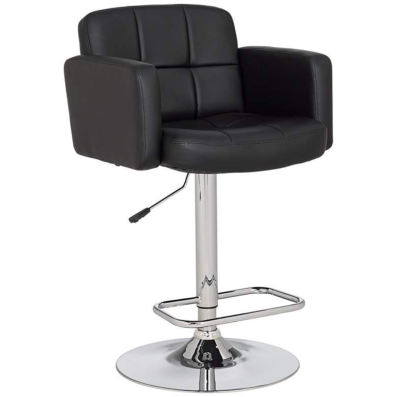 Pleasing Trek Large Black Faux Leather Adjustable Swivel Bar Stool Gmtry Best Dining Table And Chair Ideas Images Gmtryco