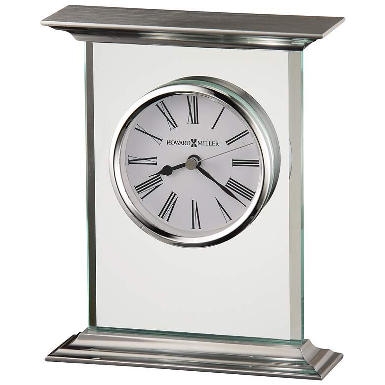 """Howard Miller Clifton 7"""" High Traditional Glass Table Clock"""
