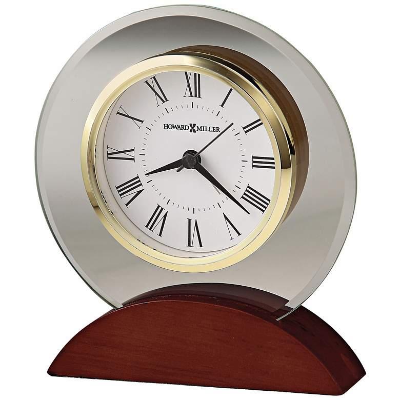 """Howard Miller Dana 6""""H Beveled Glass Table Alarm Clock"""