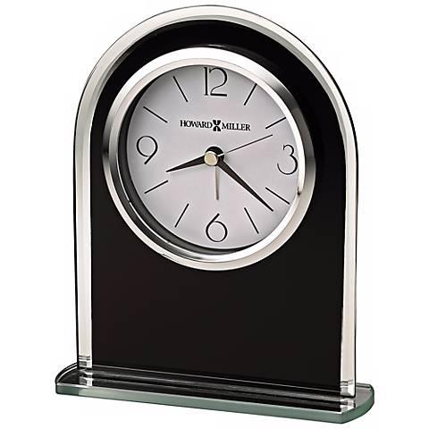 "Howard Miller Ebony Luster 6 1/4"" High Tabletop Alarm Clock"