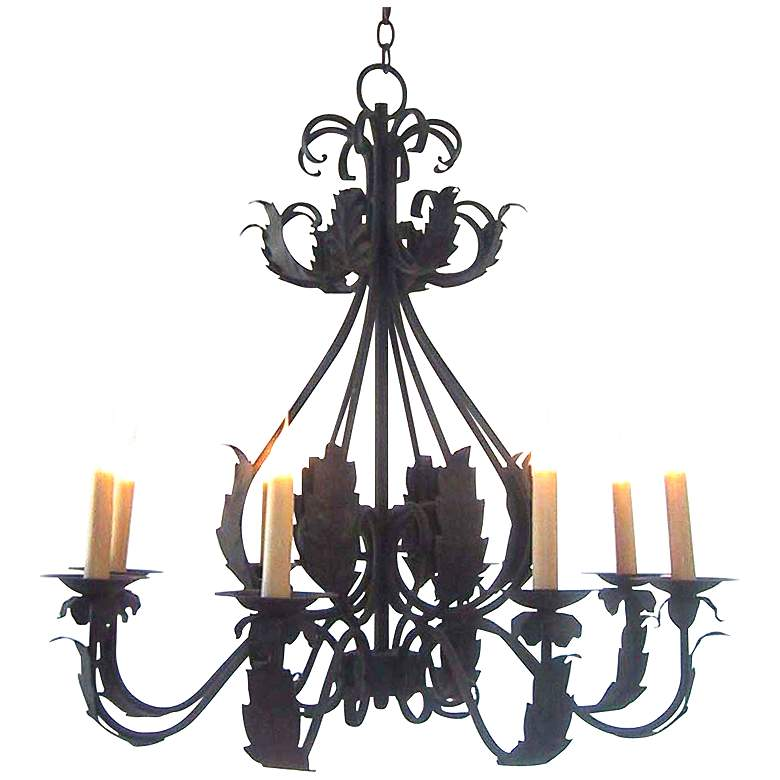 """Laura Lee Michelle 8-Light 33"""" Wide Forged Iron Chandelier"""