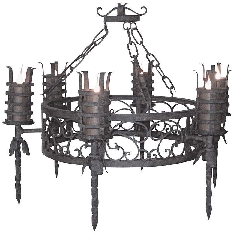 "Laura Lee Lancelot 6-Light 40"" Wide Iron Torch Chandelier"