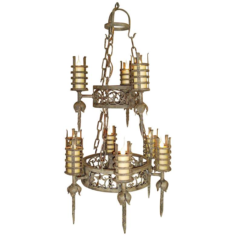 """Laura Lee Lancelot Two-Tier 32"""" Wide Forged Iron Chandelier"""