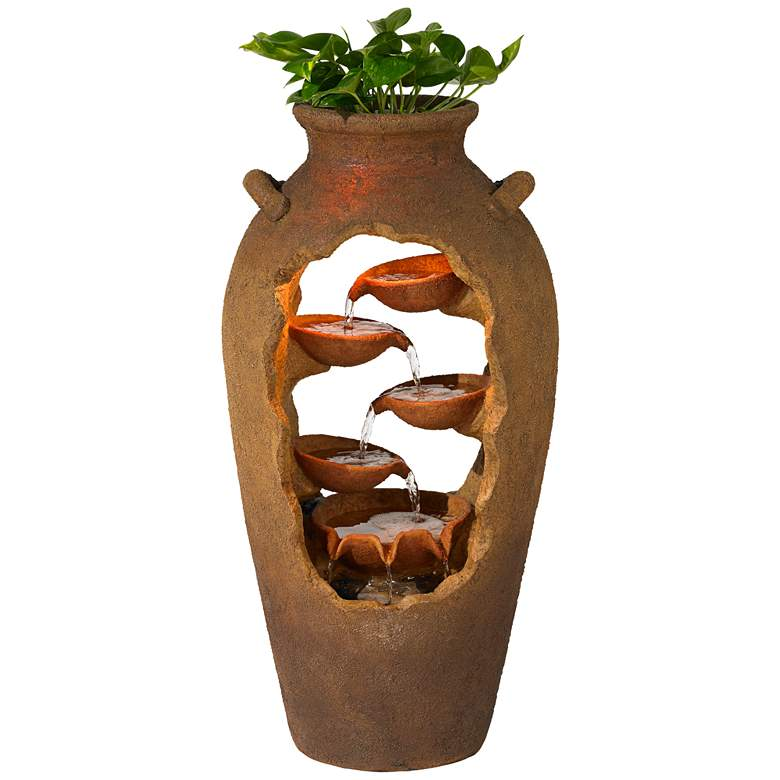 "Cascade 33"" High Rustic Urn Fountain with Planter and Light"
