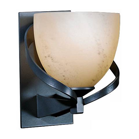"Hubbardton Forge Ribbon Stone Glass 8"" High Wall Sconce"