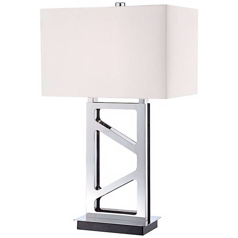 George Kovacs Open Base Table Lamp in Polished Nickel