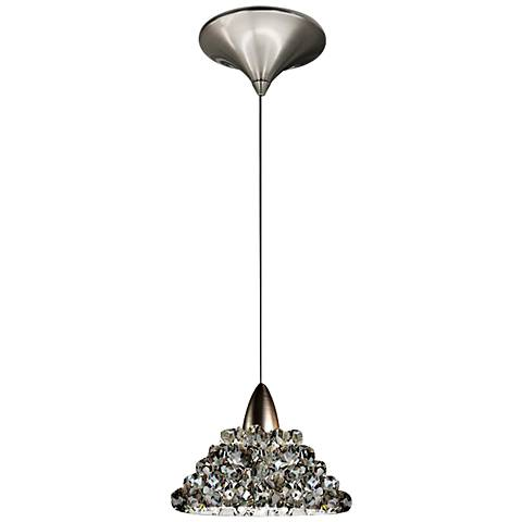 "WAC Giselle 5 1/2"" Wide LED Black Ice Glass Mini Pendant"