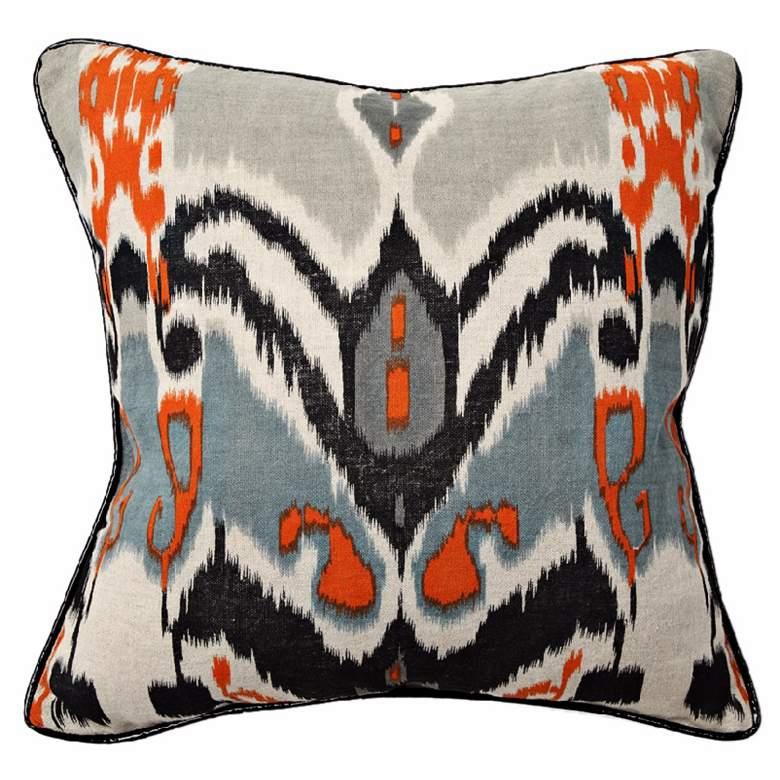 Ikat Print Linen Throw Pillow