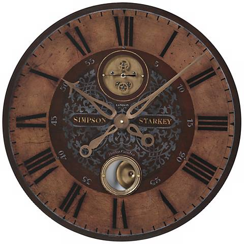 """Simpson Starkey Brown 23"""" Wide Round Wall Clock"""