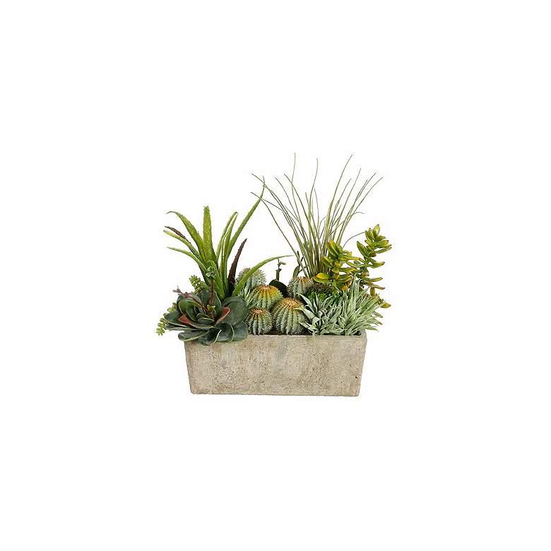 Faux Cactus and Succulent Arrangement in a Pearl Stone Pot