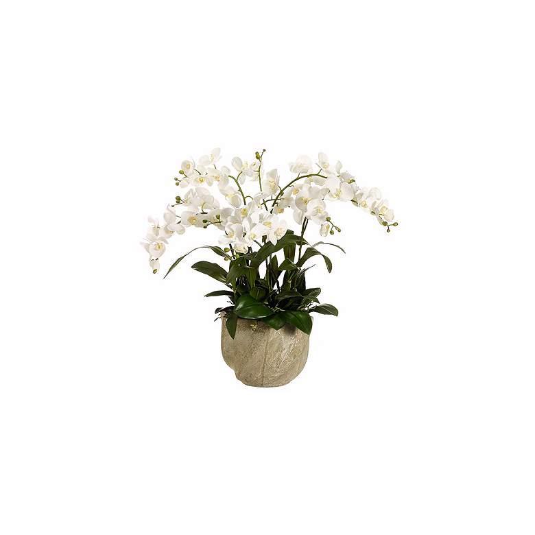 """White Cymbidium Orchid 30"""" High Faux Floral Arrangement"""