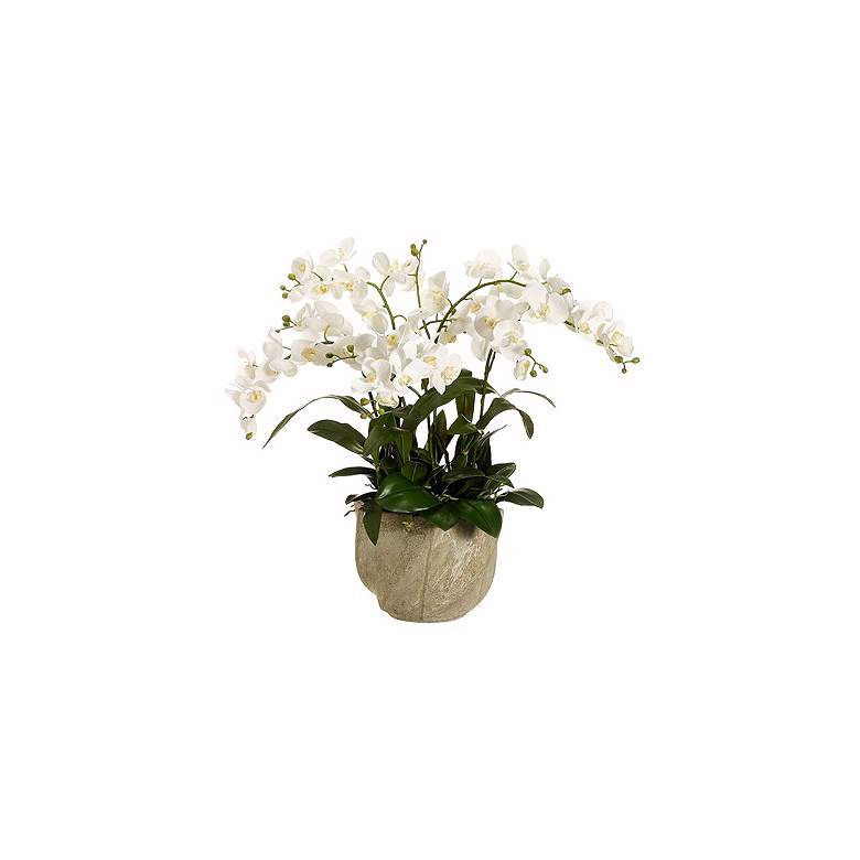 "White Cymbidium Orchid 30"" High Faux Floral Arrangement"