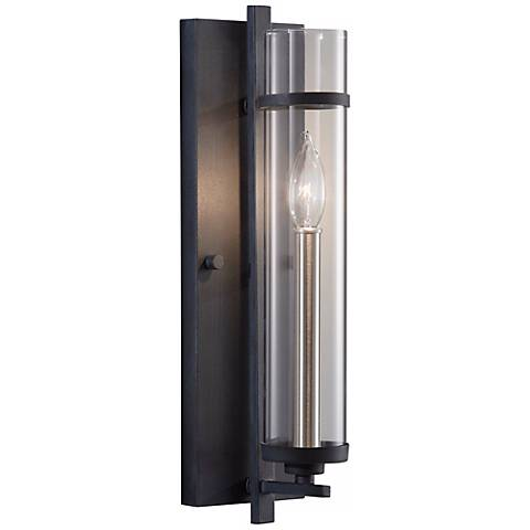 """Feiss Ethan Forged Iron Brushed Steel 17"""" High Wall Sconce"""