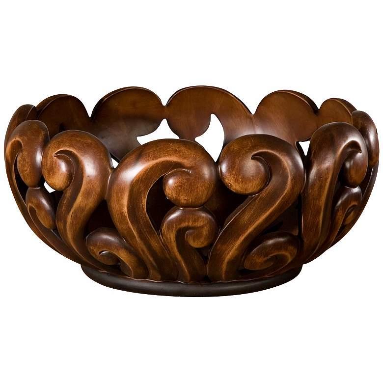 """Swirl 16"""" Wide Wood Tone Merida Bowl"""