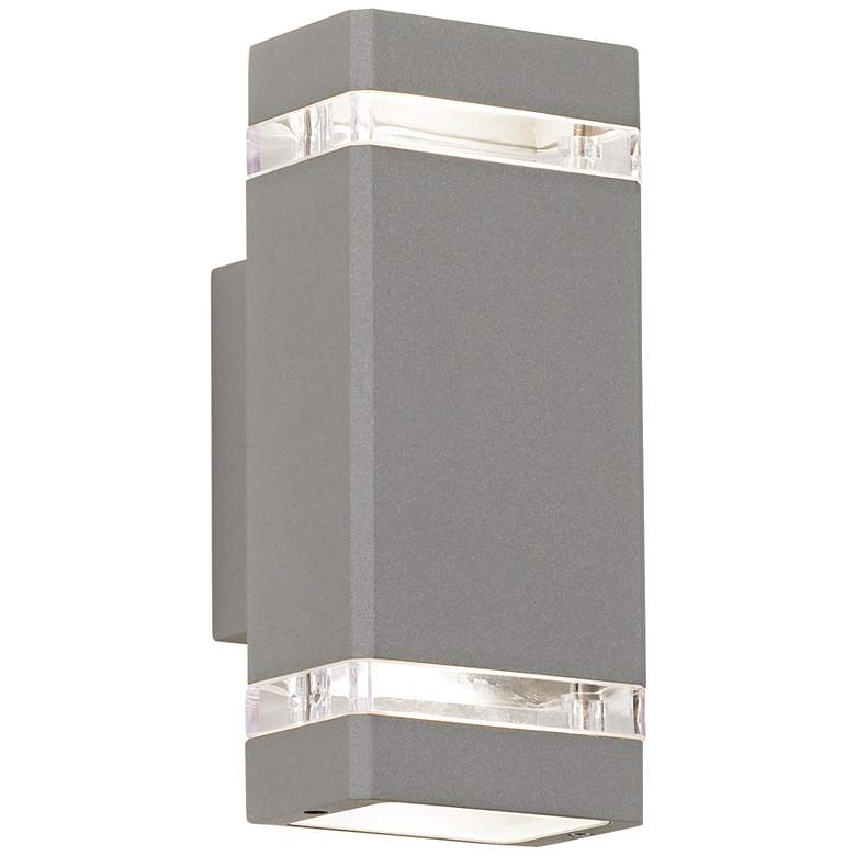 """Possini Euro 10 1/2"""" High Silver Up-Down Outdoor Wall Light"""