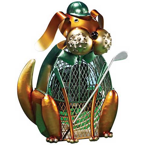 Dog Golfer Figurine Decorative Desk Fan