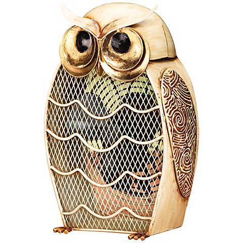 Fan Snow Owl Figurine Decorative Desk Fan