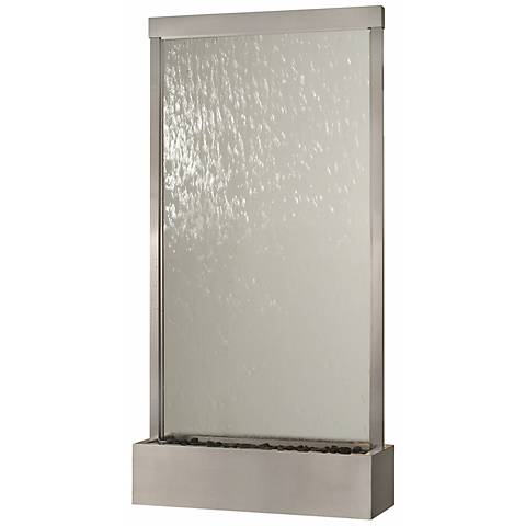 """Grande 94"""" High Stainless Steel & Clear Glass Fountain"""