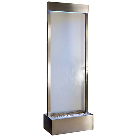 "Gardenfall LED 90""H Silver Glass Indoor/Outdoor Fountain"