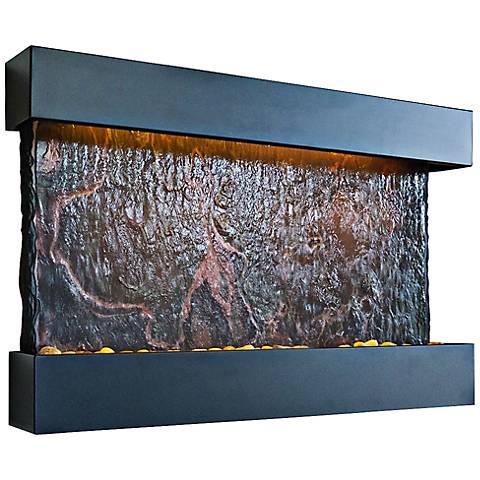 Horizon Falls Medium Black Indoor Wall Fountain with LEDs